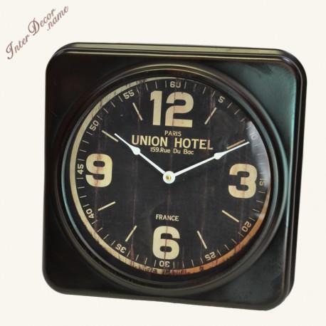 Nástěnné hodiny Union HOTEL Barva tmavě hnědá Osobní TIP majitele eshopu, který si tyto hodiny vybral do své pracovny. Kovové nástěnné hodiny v retro stylu. Materiál kov.