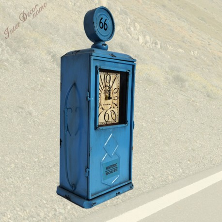 InterDecor Hodiny Fuel station Barva modrá • kovové retro hodiny