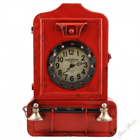 InterDecor Nástěnné retro hodiny Telephone Barva červená